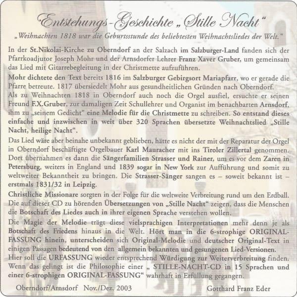 """Erstmals """"Stille Nacht"""" in 15 Sprachen und 6 strophiger Original-Fassung . . . 5"""