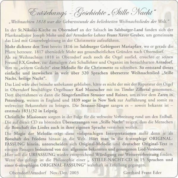 """Neue """"JUBILÄUMS-Stille Nacht CD"""" 7 Sprachen 2"""