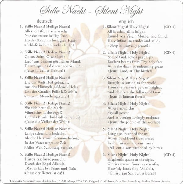 """Neue """"JUBILÄUMS-Stille Nacht CD"""" 7 Sprachen 4"""